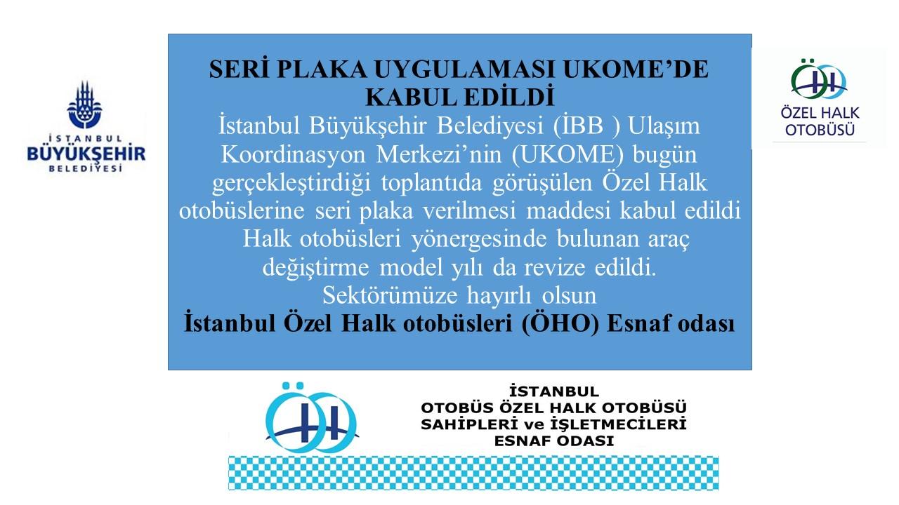 ÖHO Seri plaka uygulamasý UKOME'de kabul edildi